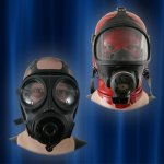 Gas masks with headgear