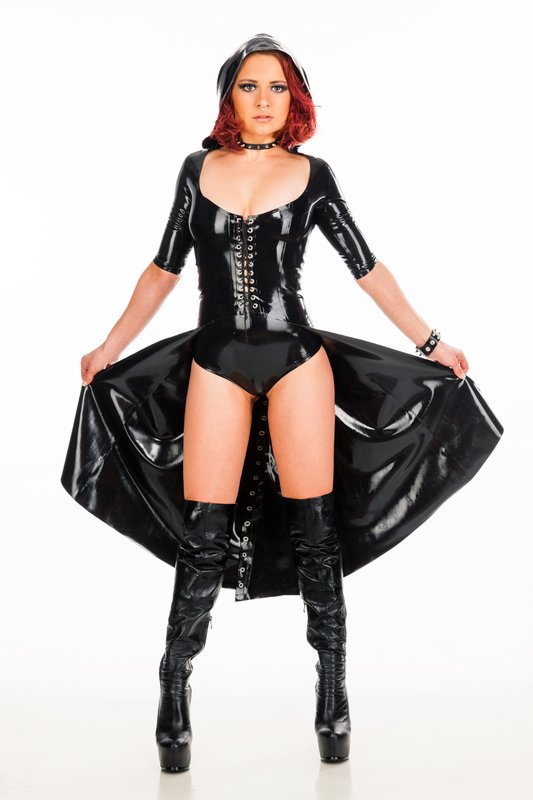 Coat with lacing and hood - Bizarre-Rubber-Shop (Latex