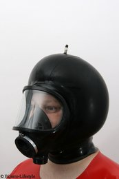 Panoramic gas mask MLW with hood and inflatable