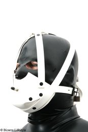 Rubber muzzle white with chinstrap and inflatable butterfly gag