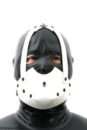 Rubber muzzle white with inflatable pear gag option lockable