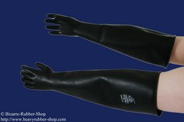 Long thick gloves different strengths size S black Latex 1,2mm (Discoloration)
