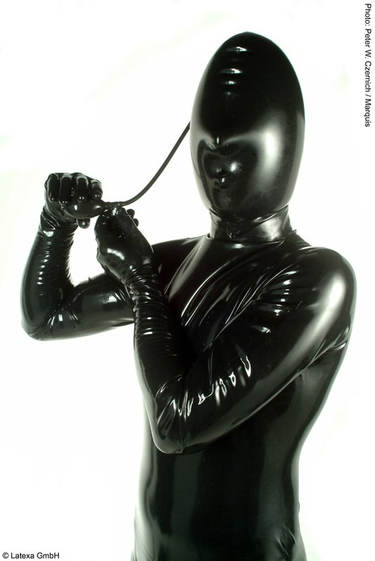 Inflatable Mask on Leather Dog Harness