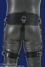 Forced belt deluxe with thigh cuffs a. inflatable plug option lockable