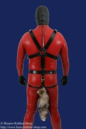Chastity harness with fur tail for men